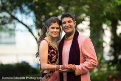 Beautiful shot of the stunning maharani and elegant raja outdoors