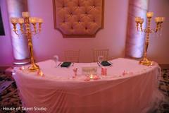 Astonishing Indian couple's wedding reception table decor.