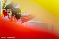 Joyful Indian bride and groom's capture.