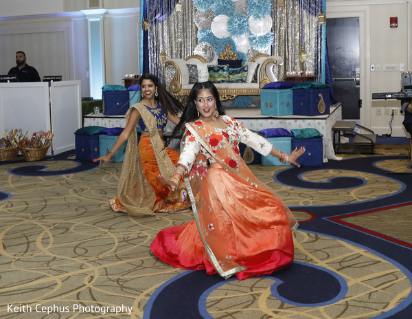 Indian wedding guests during performance