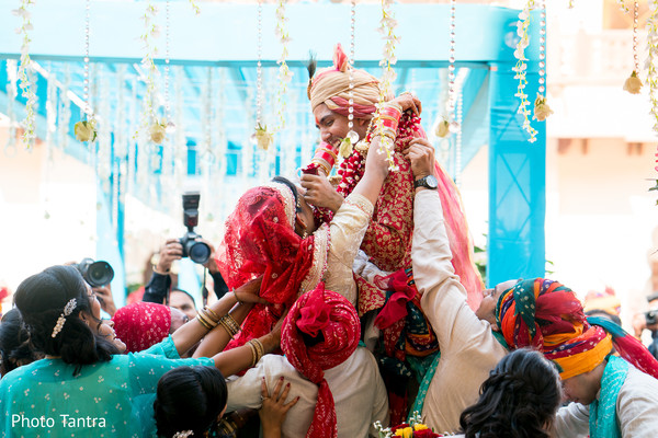 Fun moment during the Indian wedding rituals