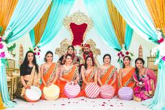 Marvelous Indian lovebirds portrait with bridesmaids.