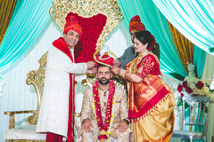 Indian groom with his tilak on forehead.