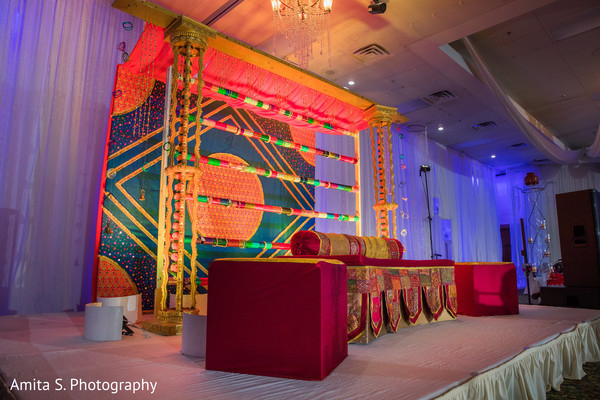 Colorful venue decor for the Indian wedding