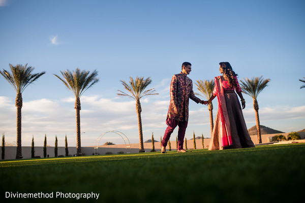 Enchanting maharani and groom on their wedding ceremony outfit.
