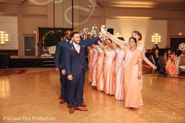 indian bridesmaids,indian groomsmen,indian wedding reception fashion