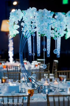 Indian wedding floral and crystals table  centerpiece.