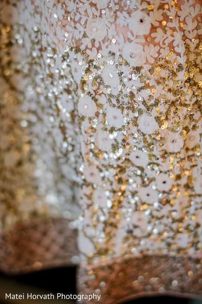 Golden design for bridal lehenga.
