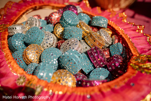 Indian wedding colorful favors capture.