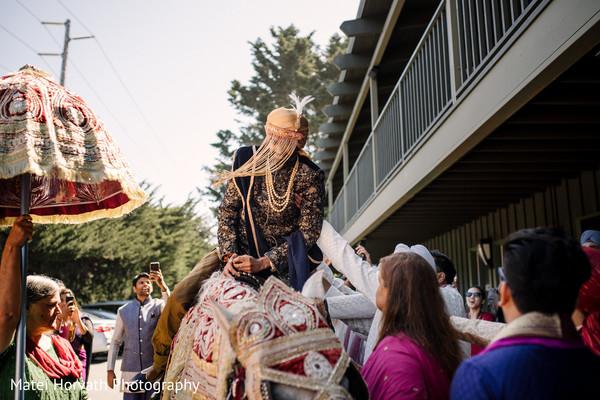 Indian groom's baraat procession.