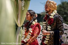 Indian bride and groom at their varmala ritual.