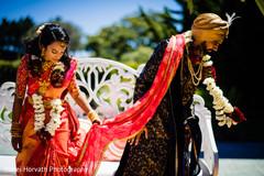Indian bride and groom during Granthi Bandhanam.