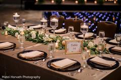 Lovely Indian wedding reception table setup.