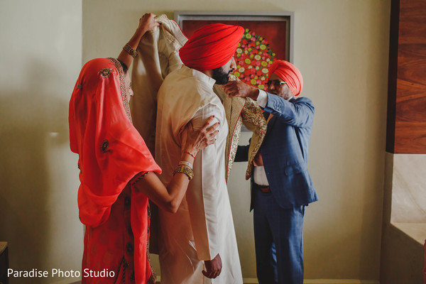 Gorgeous Indian groom getting ready capture.
