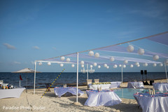 Wonderful Indian wedding reception decor by the beach.