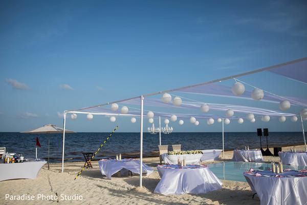 Wonderful Indian wedding reception decor by the beach.
