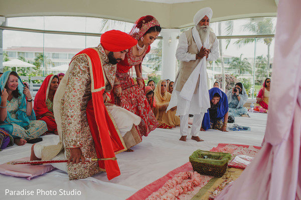 Gorgeous indian couple at ceremony ritual.