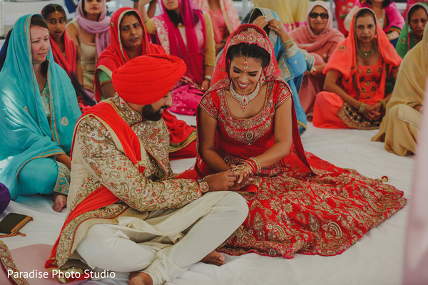 Indian bride and groom's capture during the ring exchange ritual.