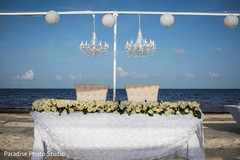 Magnificent Indian bride and groom's reception table decor.