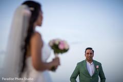 Indian groom meeting bride capture.