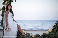 Glamorous Indian bride beach side wedding photo shoot.