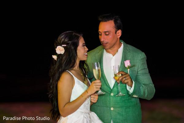 indian bride and groom,indian wedding reception,indian wedding cheers