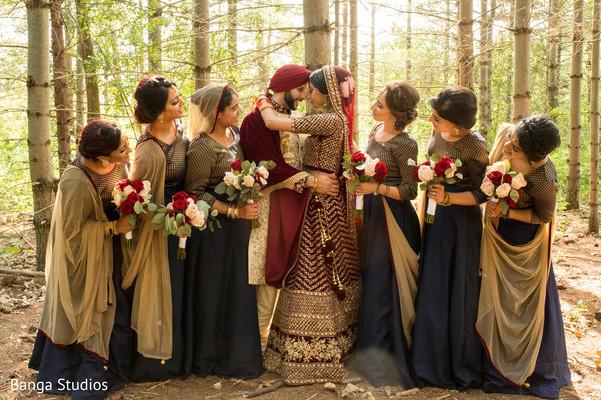 indian bride,maharani,bridesmaids,nature