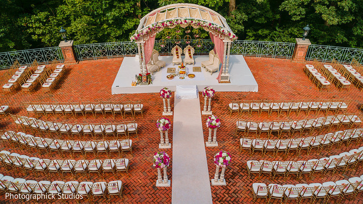 mandap,indian wedding ceremony,seats set up,flowers decor