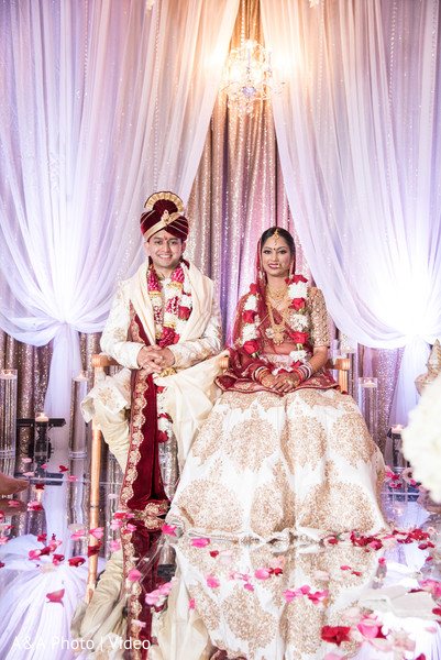 Sweet indian couple at their wedding stage