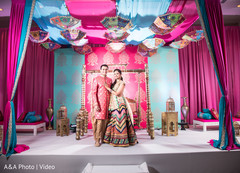 Lovely indian couple at their sangeet stage