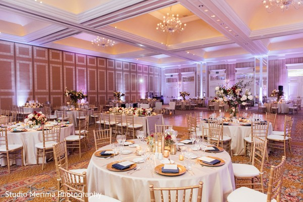 indian wedding reception,table setup,table flowers decor