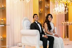 Lovely Indian wedding couple smiling.