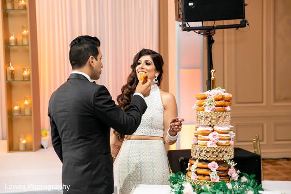 indian bride,indian groom,indian wedding reception,donut cake