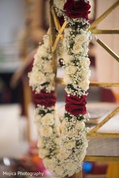 Flower garland details at the Indian wedding venue