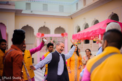 Cheerful guests having a good time dancing