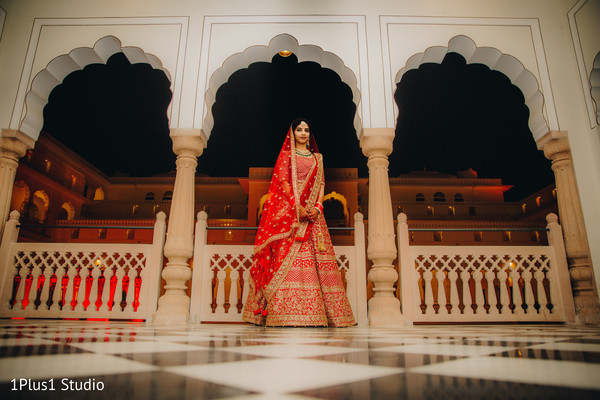 Stunning portrait of Indian bride wearing the lengha