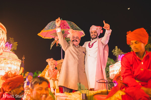 Raja and his father arriving at the ceremony