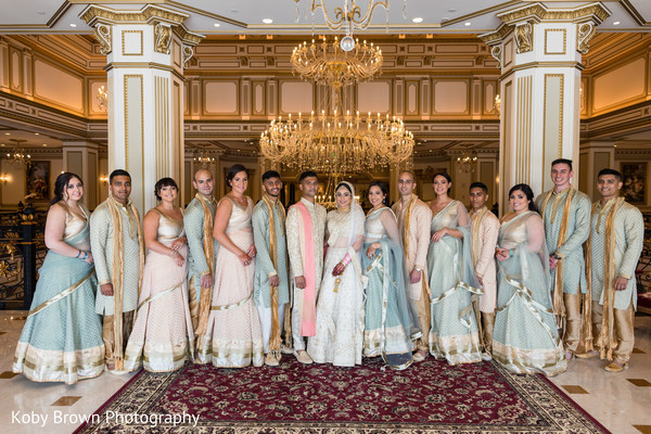 indian bride and groom,indian bridesmaids and groomsmen,indian wedding ceremony fashion
