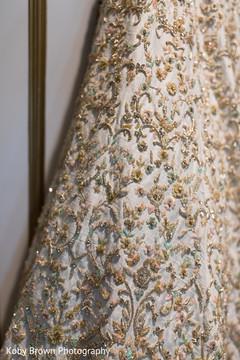 Marvelous Indian bridal lehenga embroidery.
