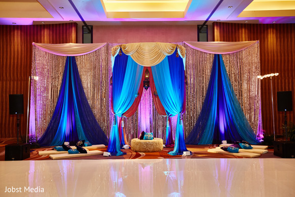 sangeet decor,draping,stage decor,lights