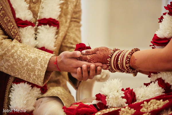 Lovely indian wedding ceremony ritual close up capture.