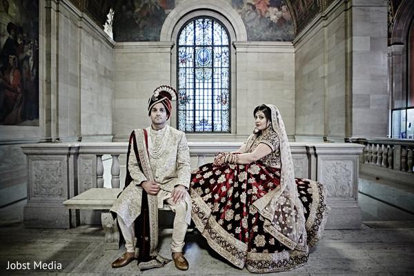 Romantic Indian bride and groom look.