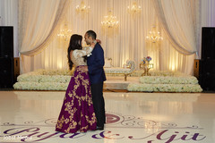 Lovely Indian couple enjoying their first dance .