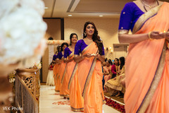 Beautiful Indian bridesmaids making their entrance