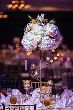Beautiful flower arrangement on the tables