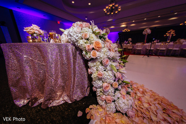 Roses decorate the Indian wedding venue