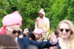 Indian groom during baraat.