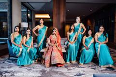 Maharani posing with beautiful bridesmaids