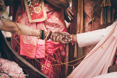 Indian bride and groom holding hands close up