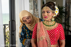 Indian bride getting ready for her wedding day